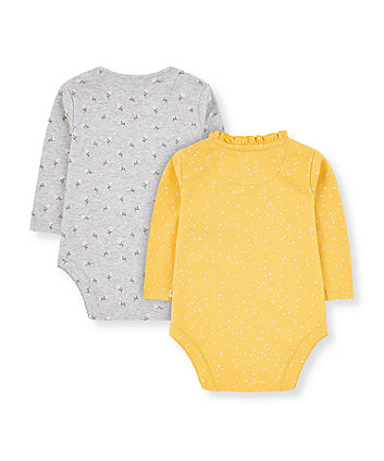 grey and yellow daddy's little daisy wrap bodysuits - 2 pack