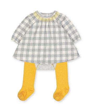 grey check romper dress and tights set