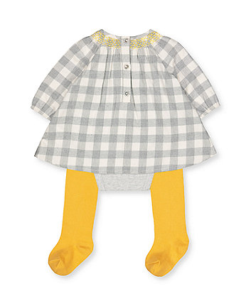 grey check romper dress and tights set