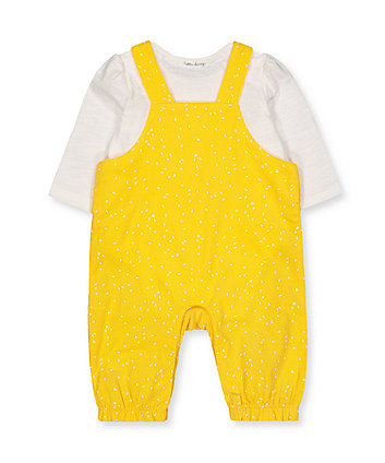 yellow cord dungarees and white bodysuit set