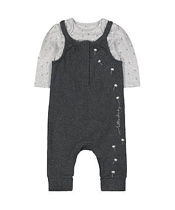 grey little daisy dungarees and bodysuit set