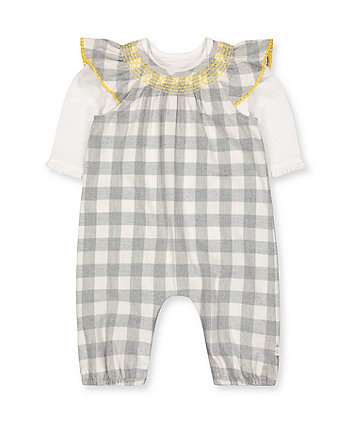 grey check romper and white bodysuit set