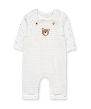 my first stripe bear dungarees and star bodysuit set