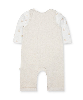 my first oatmeal animal velour dungarees and bodysuit set