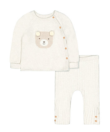 my first oatmeal knit bear jumper and leggings set