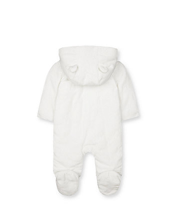 my first white star velour pramsuit