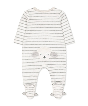 white and grey stripe lamb velour all in one