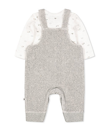 grey lamb velour rib dungarees and bodysuit set