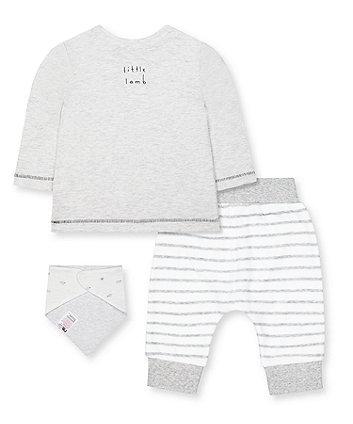 grey little lamb t-shirt, joggers and bib set