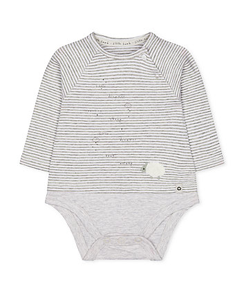 grey stripe lamb mock-top bodysuit