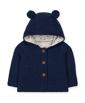 navy twist knit bear hooded cardigan