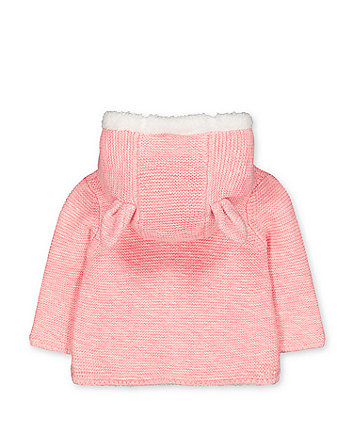 my first pink bunny borg-lined knit cardigan with hood