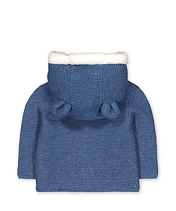 my first blue teddy borg-lined knit cardigan with hood