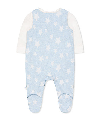 my first blue star dungarees and cream bodysuit set