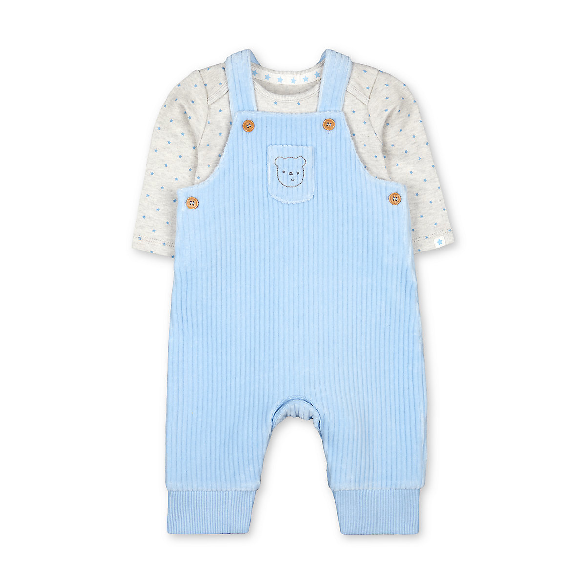 my first blue velour bear rib dungarees and star bodysuit set