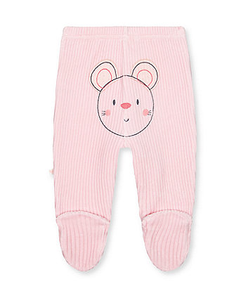 my first pink mouse rib velour leggings