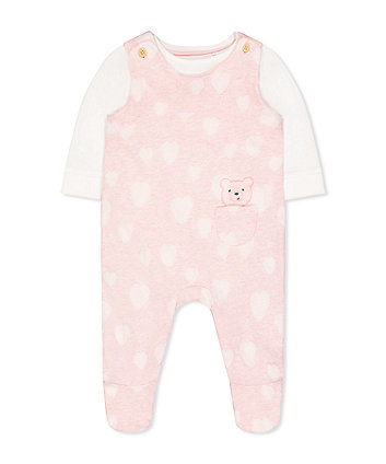 my first pink bear dungarees and cream bodysuit set