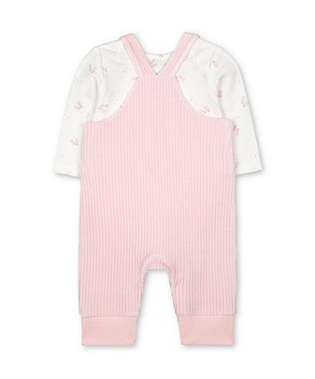 my first pink velour bear rib dungarees and ballet bodysuit set