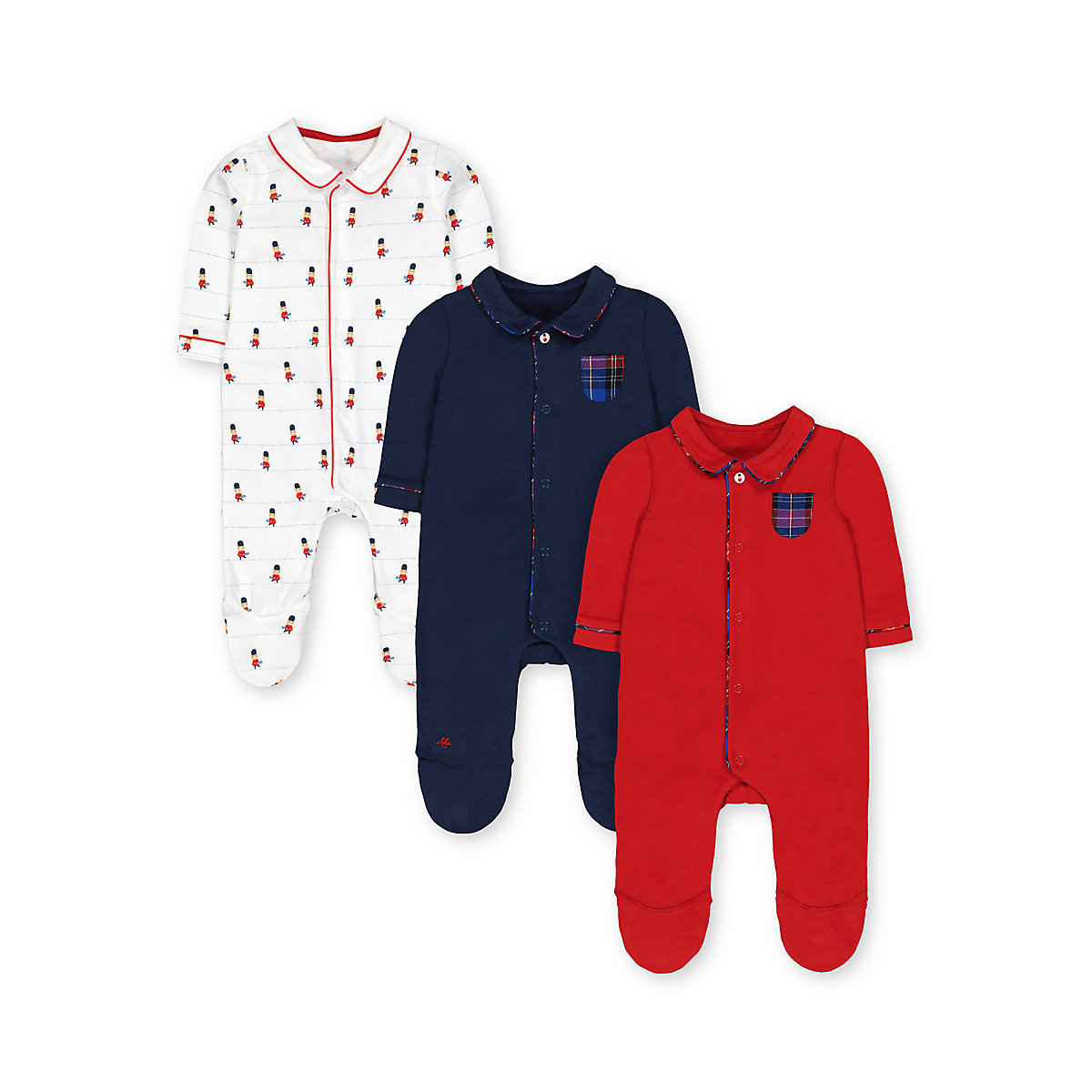 bear guards. navy and red collared sleepsuits - 3 pack