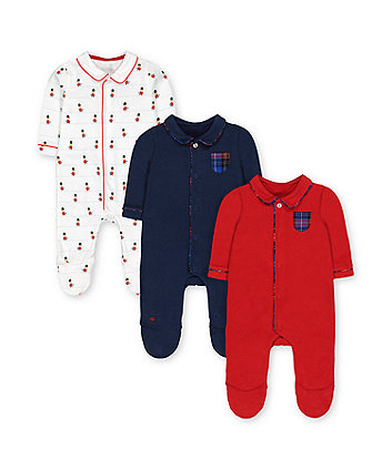 bear guards, navy and red collared sleepsuits - 3 pack