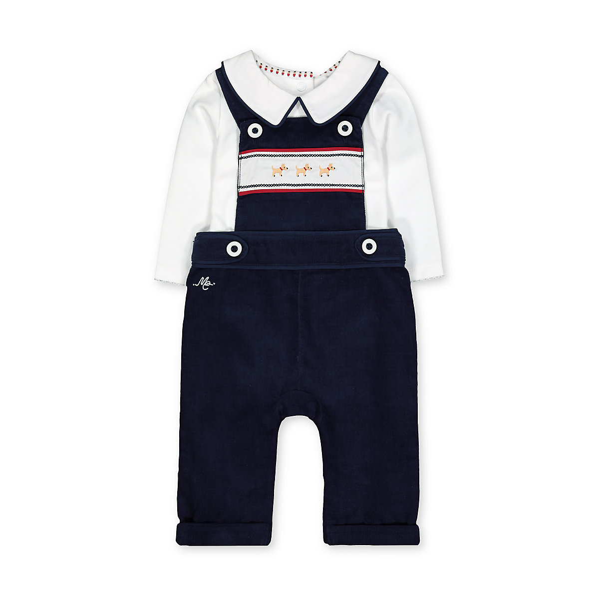 navy cord dungarees and bodysuit set