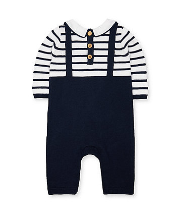 navy bear knit mock dungarees all in one