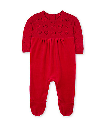red knit velour all in one