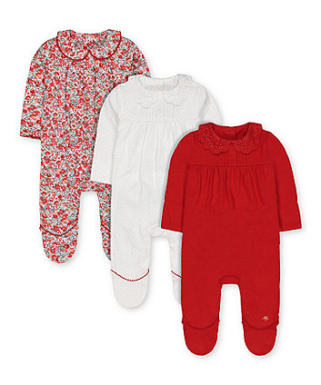 red, spot and floral collared sleepsuits - 3 pack