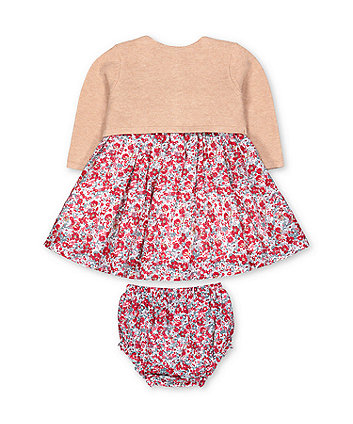 red floral dress, cardigan and knickers set