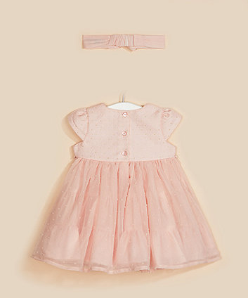 pink bodice dress and headband set