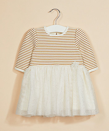 white sparkly stripe mesh twofer dress