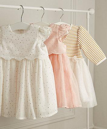 white sparkly stripe mesh twofer dress