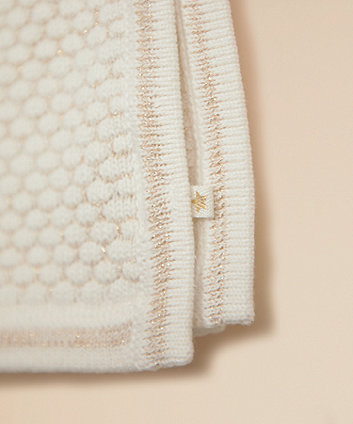cream and gold knitted shawl