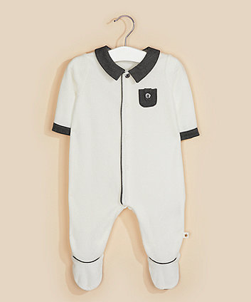 white rib velour collared all in one