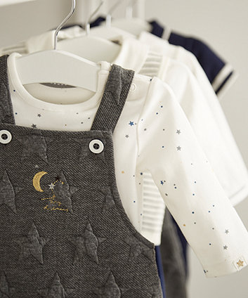 grey embossed star dungarees and bodysuit set