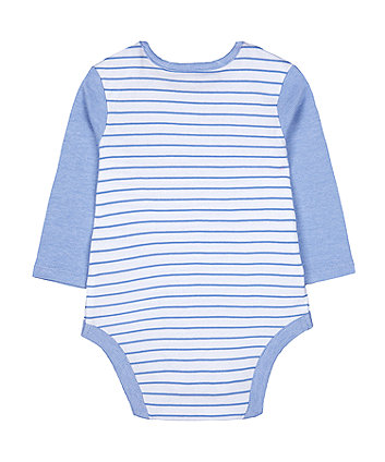 blue stripe best little brother bodysuit