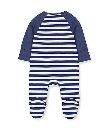 navy striped sleepsuit
