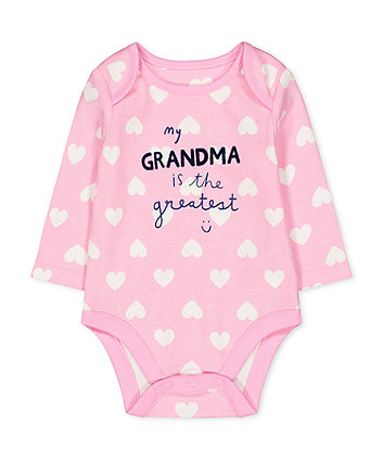 pink heart grandma is the greatest bodysuit