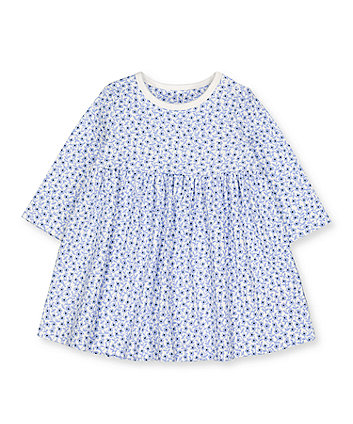 blue ditsy floral dress