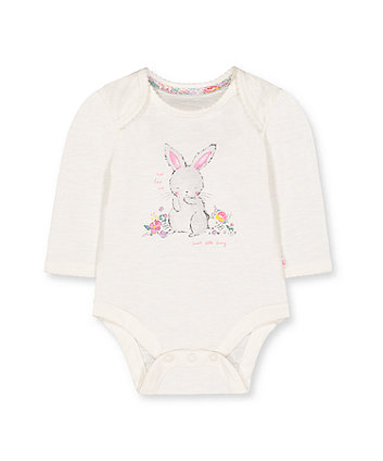 white bunny graphic bodysuit