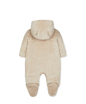 my first oatmeal bear fleece pramsuit