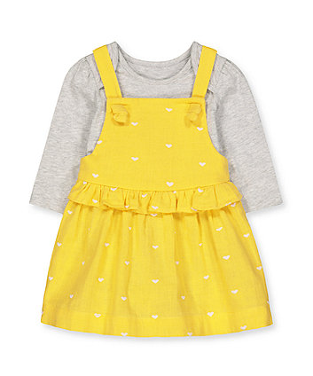 yellow heart woven dress and grey bodysuit set