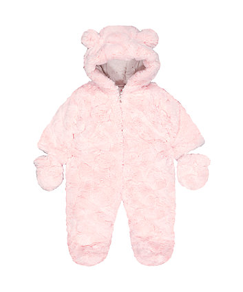 fluffy pink snowsuit
