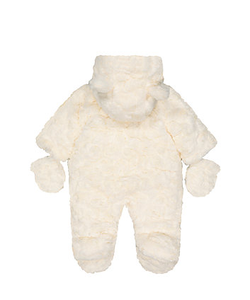 fluffy cream snowsuit