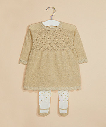 gold lurex knitted dress and tights set