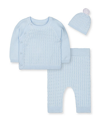 my first blue cable-knit 3-piece set