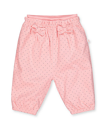 pink spot cord trousers