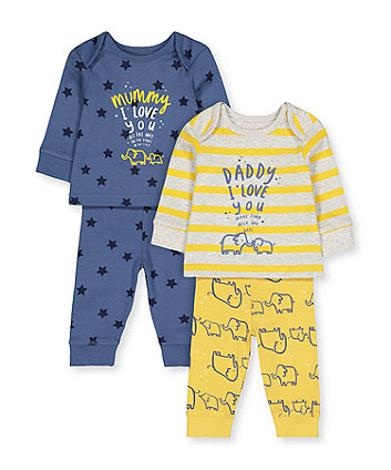 elephant mummy and daddy pyjamas - 2 pack