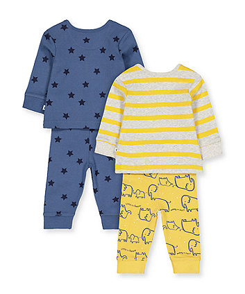elephant mummy and daddy pyjamas - 2 pack
