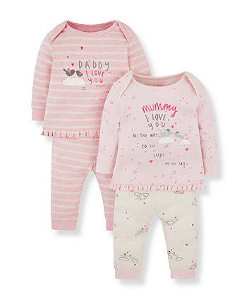 pink mummy mouse and bird daddy pyjamas - 2 pack